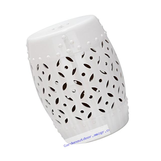Safavieh Castle Gardens Collection Lattice Coin Ceramic Garden Stool, White