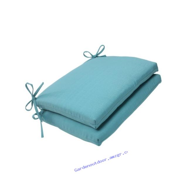 Pillow Perfect Indoor/Outdoor Forsyth Squared Seat Cushion, Turquoise, Set of 2