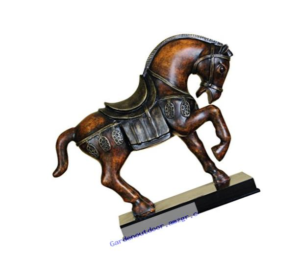 Benzara 22465 Polystone Tang Horse Unique Table Accent Animal Statue
