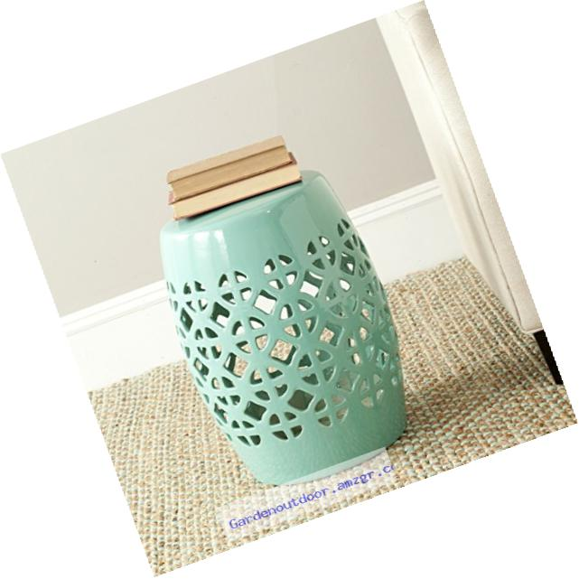 Safavieh Castle Gardens Collection Circle Lattice Ceramic Garden Stool, Light Blue