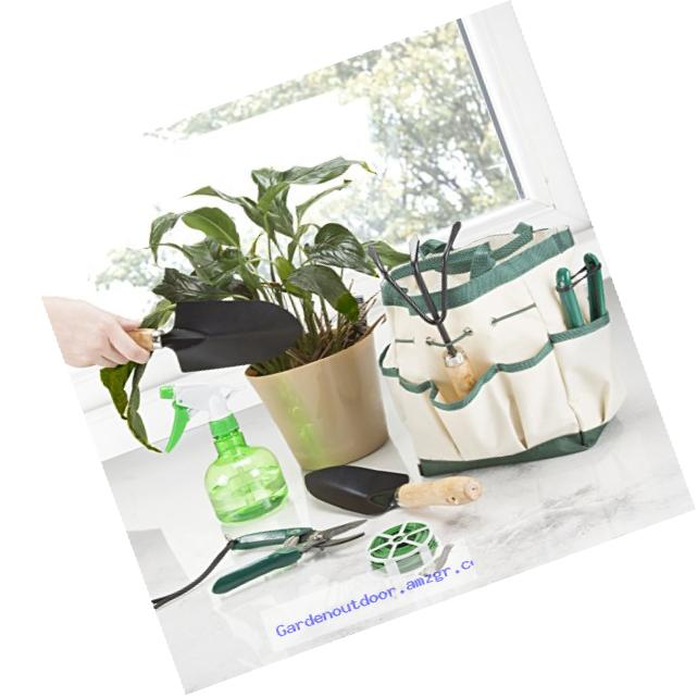 Pure Garden 75-08002 8 Piece Garden Tool and Tote Set