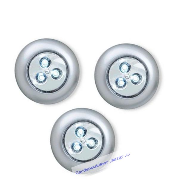 LIGHT IT by Fulcrum 30010-301 LIGHT IT 3 LED Wireless Stick-on Tap Light, 3-Pack, Silver